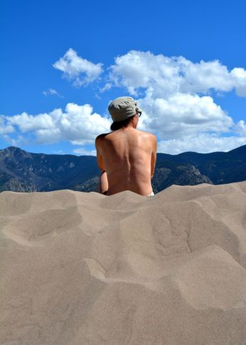 Bare back in the dunes