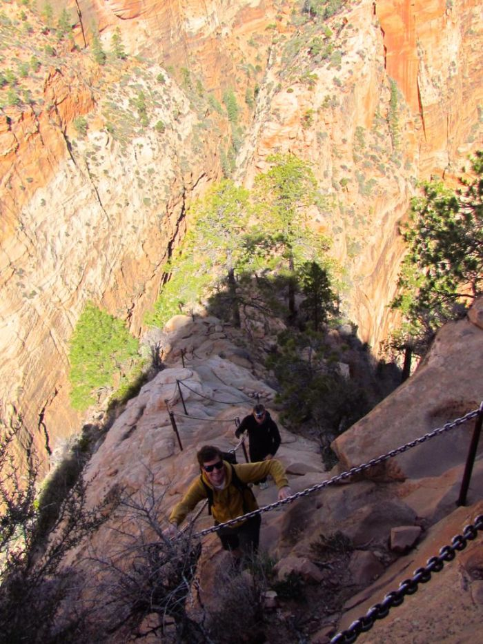 The infamous chains along the very steep last 1/2 mile to the summit of Angels Landing