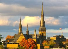 First Presbyterian Church and Sally Grant at sunset -- Brockville, Ontario
