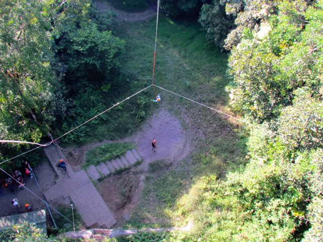 Swinging like Tarzan, a 140 feet jump into the unknown.