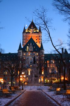 Night falls on the Hotel Fairmont Le Château Frontenac -- Old Quebec City, Quebec