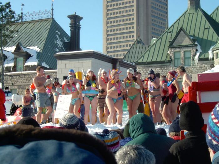 Snow bath at Quebec Carnival