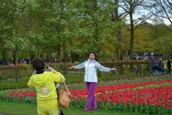 posing for a photo at the Keukenhof