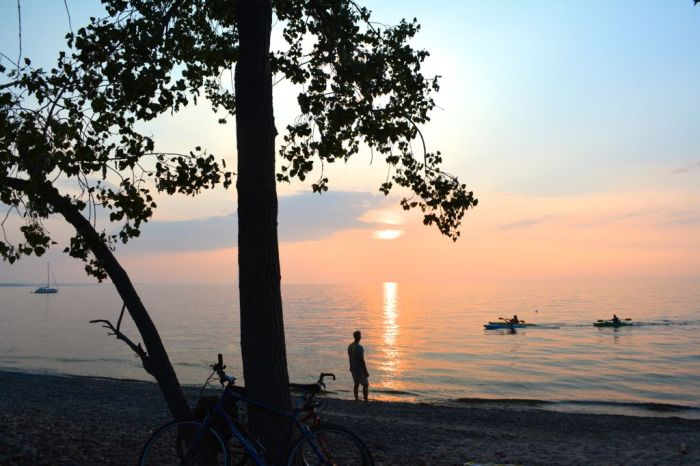Kayakers at sunset on Lake Ontario, Pulaski, New York