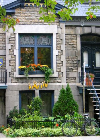 View from Carré St-Louis (Saint-Louis Square), a lively urban square in the Plateau Mont-Royal -- Montreal, Quebec
