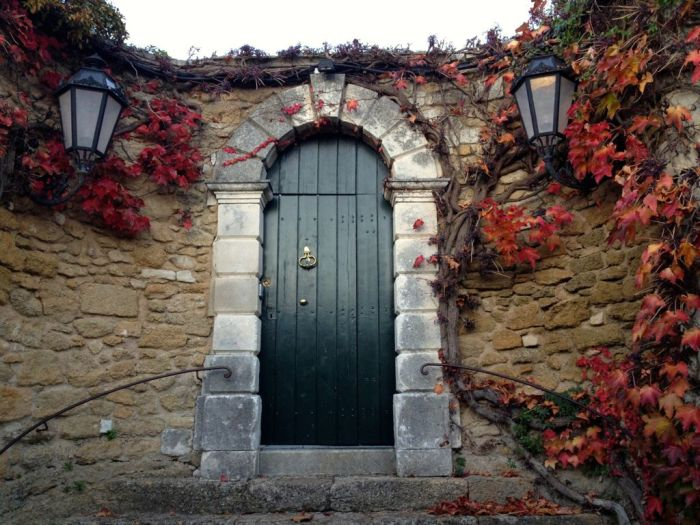 green door, fall, fall colour, vines, stone wall