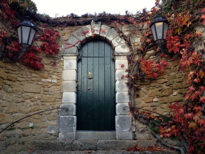 green door, fall, fall colour, vines, stone wall