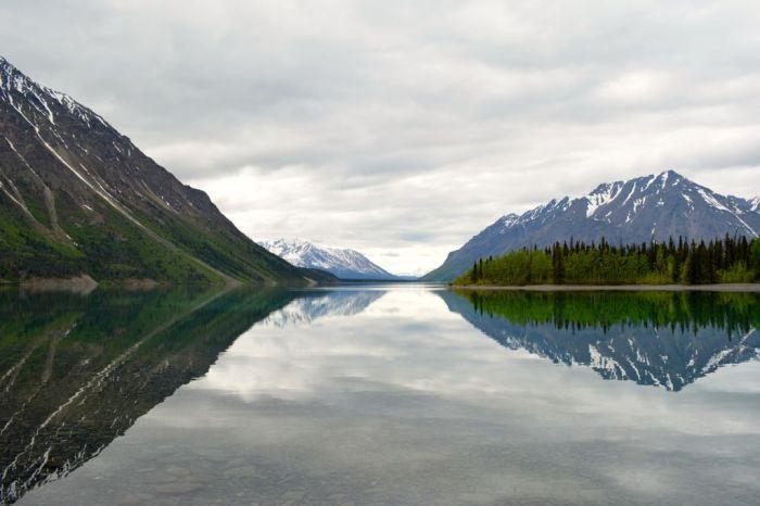 Mountain reflection at Kathleen Lake