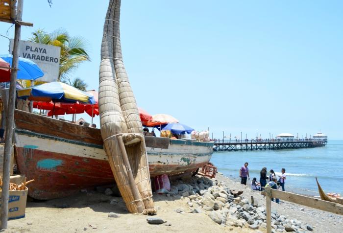 A Caballitos de Totora on the beach in Huanchaco
