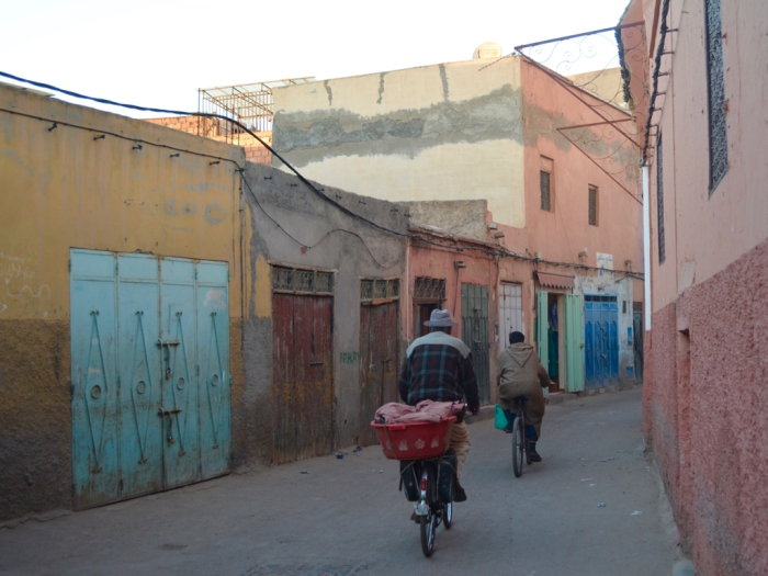 Men bicycling in Marrakesh