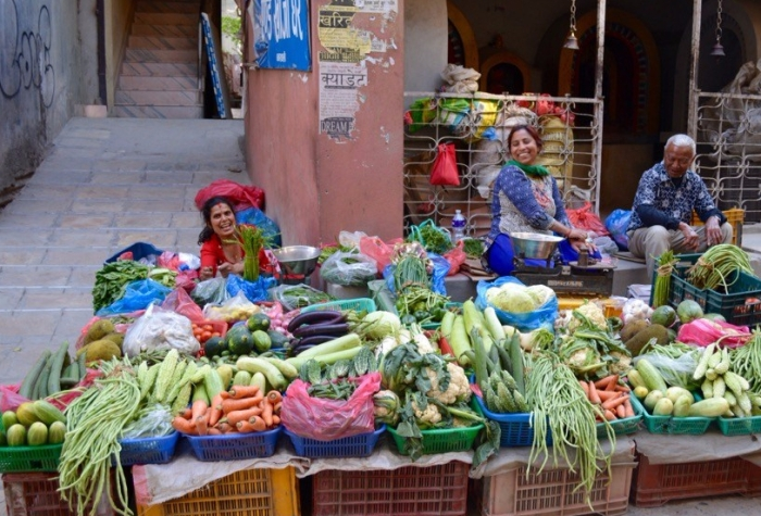 Friendly vegetable street vendors in Kathmandu