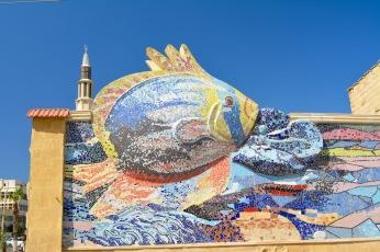 Fish mosaic along the Corniche