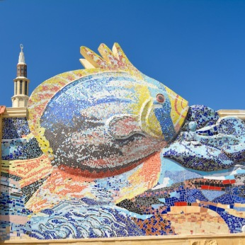 Fish mosaic along the Corniche